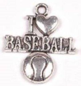 "1 PC ASP 22x19mm ""I Love Baseball"" Charm"