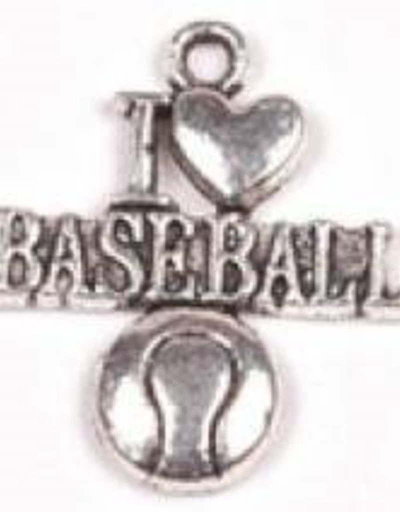 "1 PC ASP 22x19mm ""I Love Baseball"" Charm"