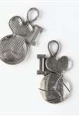 "1 PC ASP 30x17mm ""I Heart Volleyball"" Charm"