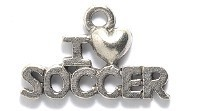 "1 PC ASP 20x13mm ""I Heart Soccer"" Charm"
