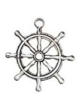 1 PC ASP 28x22mm Ship Wheel Charm