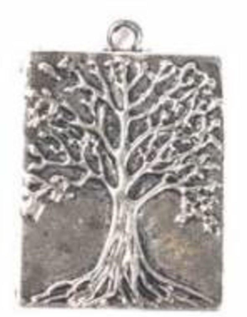 1 PC ASP 32x22mm Tree of Life Rectangle Charm