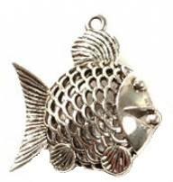 1 PC ASP 38x35mm 3D Fish Pendant