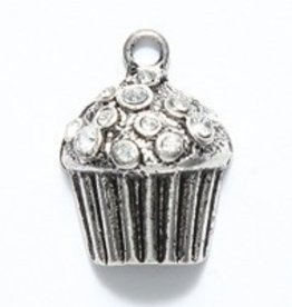 1 PC ASP 20x15mm Cupcake with Rhinestones Charm