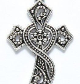 1 PC ASP 37x24mm Ornate Cross Charm