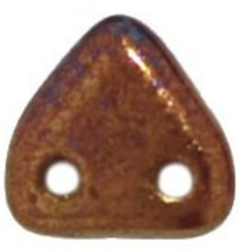 10 GM 6mm 2 Hole Triangle : Bronze Luster Iris - Opaque Red