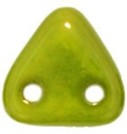 10 GM 6mm 2 Hole Triangle : Silversheen - Chartreuse