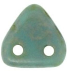 10 GM 6mm 2 Hole Triangle :  Turquoise - Copper Picasso