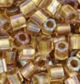 10 GM Toho 8/0 Hex : Inside-Color Rainbow Crystal/Gold-Lined