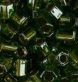 10 GM Toho 8/0 Hex : Inside-Color Luster Olive/Metallic-Lined