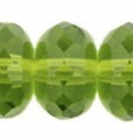 25 PC Firepolish Donut 11x7mm : Olivine