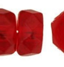 50 PC Firepolish 6x3mm Rondell : Siam Ruby