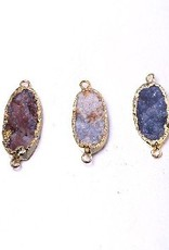1 PC Druzy Agate/Gold 2 Loop Pendant 18-19x33-38mm
