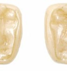 25 PC 13x11mm Easter Island Face : Opaque Beige Luster