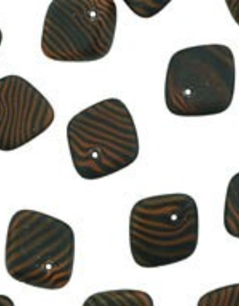 25 PC 5x14mm Pinched Diamond : Matte Orange/Black Stripe
