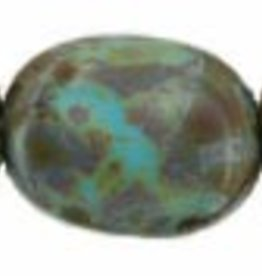 25 PC 12x9mm Twisted Flat Ovals : Opaque Turquoise Picasso