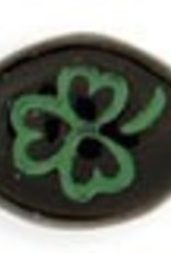 25 PC 9x10mm Oval Clover : Jet Green Inlay