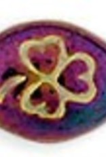 25 PC 9x10mm Oval Clover : Purple Iris Gold Inlay
