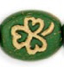 25 PC 9x10mm Oval Clover : Opaque Green Gold Inlay