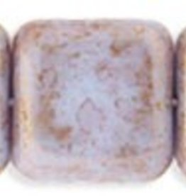25 PC 9mm Flat Square : Opaque Blue Pink Luster