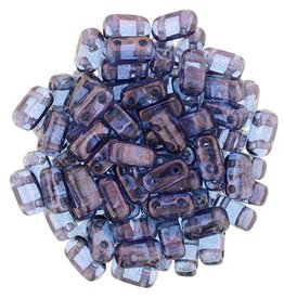 50 PC 3x6mm 2 Hole Bricks : Transparent Amethyst Luster