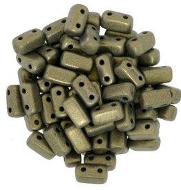 50 PC 3x6mm 2 Hole Bricks : Metallic Suede Gold