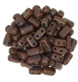 50 PC 3x6mm 2 Hole Bricks : Opaque Umber Copper Picasso