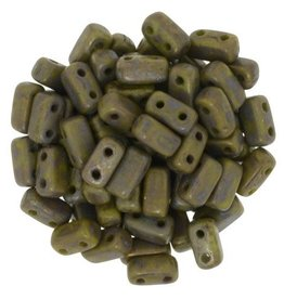 50 PC 3x6mm 2 Hole Bricks : Opaque Olive Copper Picasso