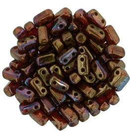 50 PC 3x6mm 2 Hole Bricks : Siam Ruby Bronze Vega