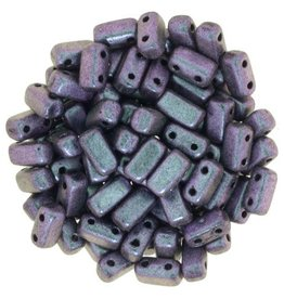 50 PC 3x6mm 2 Hole Bricks : Polychrome Orchid Aqua