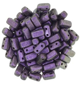 50 PC 3x6mm 2 Hole Bricks : Polychrome Black Currant