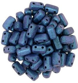 50 PC 3x6mm 2 Hole Bricks : Polychrome Indigo Orchid