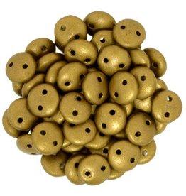 50 PC 6mm 2 Hole Lentil : Matte Metallic Goldenrod