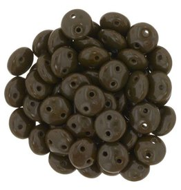 50 PC 6mm 2 Hole Lentil : Opaque Chocolate Brown