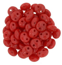 50 PC 6mm 2 Hole Lentil : Opaque Red