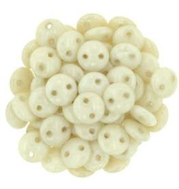50 PC 6mm 2 Hole Lentil : Opaque Champagne Luster