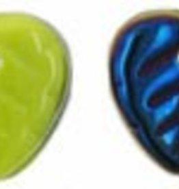50 PC 10mm Heart Leaf : Opaque Olive Blue Iris