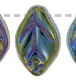 25 PC 7x12mm Leaf : Green Iris