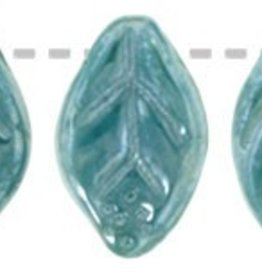 25 PC 7x12mm Leaf : Opaque Turquoise Luster