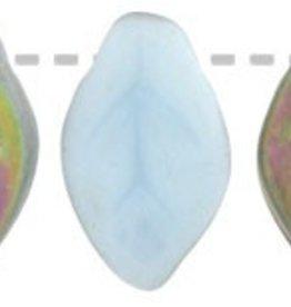 25 PC 7x12mm Leaf : Matte Opaque Blue Vitrail