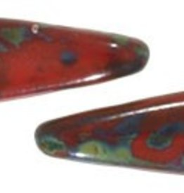 50 PC 5x16mm 2 Hole Dagger : Opaque Red Picasso