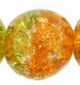 25 PC 10mm Round : Topaz/Peridot Crackle