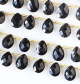 "8.5"" 7x10mm Faceted Briolette : Black Onyx"