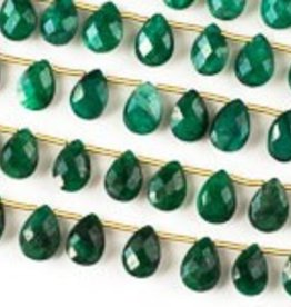 """8.5"""" 7x10mm Faceted Briolette : Emerald"""