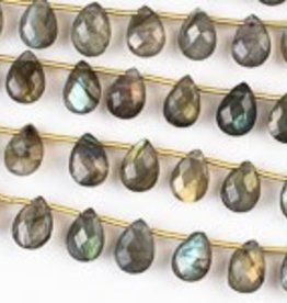 "8.5"" 7x10mm Faceted Briolette : Labradorite"