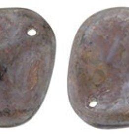 25 PC 14x13mm Rose Petal : Stone Topz/Milky Amethsyt Luster