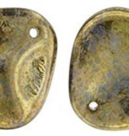 25 PC 14x13mm Rose Petal : Peridot Bronze Picasso