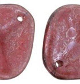 25 PC 14x13mm Rose Petal : Stone Topaz/Mauve Luster