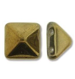 12 PC 12mm 2 Hole Pyramid : Crystal Amber