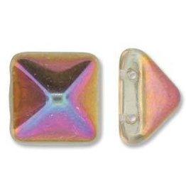12 PC 12mm 2 Hole Pyramid : Crystal Sliperit
